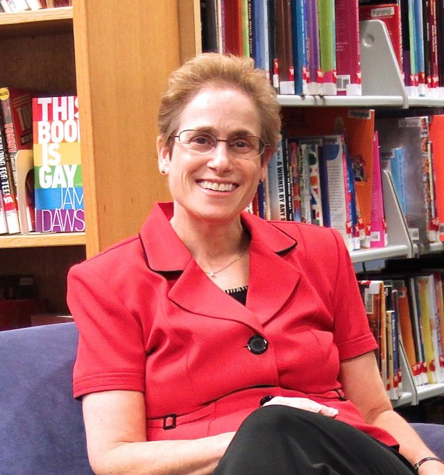 Carol Levin librarian red jacket